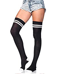 Leg Avenue 6919 One Size 6 to 12 Black and White Ribbed Athletic Thigh Highs with Woven 2 Stripe Top/Reinforced Toe and Elastic Cuff