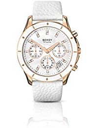 Seksy Women's Quartz Watch with Mother of Pearl Dial Analogue Display and White Leather Strap 2212.37