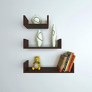 brand new 9029e 01607 DecorNation Floating Wall Shelf - Set of 3 'U' Shape MDF Wall Racks - Brown