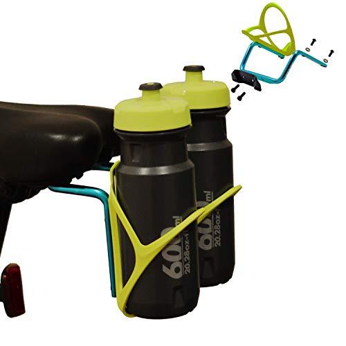 RUZER © Doppelter Fahrrad-Flaschenhalter aus Metalllegierung stabiler Fahrrad-Flaschenhalter Adapter zur Montage eines doppelten Fahrrad-Flaschenhalters mit Verriegelungen für die meisten Bikes (Gold)
