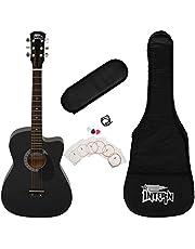Intern INT-38C-BK-G Cutaway Right Handed Acoustic Guitar Kit (Black, 6 Strings)