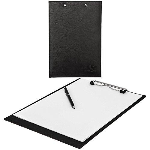 """Gusti Leder studio """"Frisco"""" Portapapeles con Clip Portafolios para Conferencias Cuero Genuino Carpeta Formato A4 Presentación Piel de Búfalo Negro 2S34-20-6"""