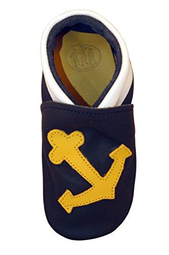 Three Little Imps Handgemachte weiche Kleinkind-Schuhe aus Leder - Salzig gelber Seeanker auf marineblauem Hintergrund 18 - 24m (ANYN) blau