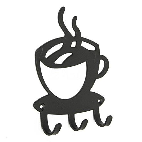 SODIAL Haus Dekorative Kaffee Wandhalterung Metall 3 Haken Key Rack Kleiderbuegel Organizer Dekoration