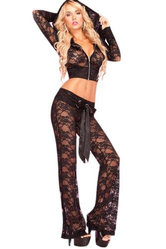 Saphira mode. Schwarz Zugeschnittenen Lace Jacke mit Kapuze und Lounge Pant (Beschnitten Pants Dance)