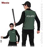 Polizei-Weste 152 mit Klettverschluss grün Fasching Kinder-Kostüm