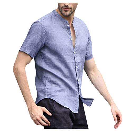Oxford Woven Dress Shirt (Floweworld Herren Baumwoll- und Leinenhemd Sommer Kurzarm Baggy Solid Tops Lässige Kleidung Knopf Retro Bluse)