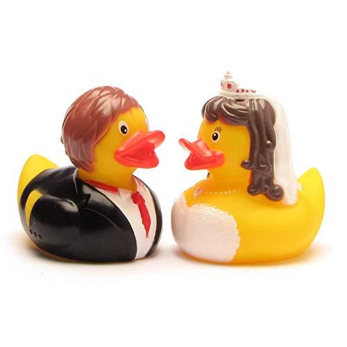 Duckshop I Badeente I Quietscheente I Ente Brautpaar - L: 8 cm I inkl. Badeenten-Schlüsselanhänger im Set