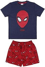 CERDÁ LIFE'S LITTLE MOMENTS Pijama Spiderman Niño para Verano de Color Azul y Rojo-Licencia Oficial Marvel