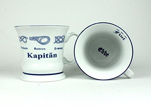 'Kapitän' Pott mit Seemannsknoten hoch Becher Tasse Kaffeebecher Teepott