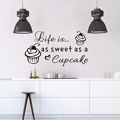 too Das Leben Ist So Süß Wie Ein Cupcake Zitat Wandaufkleber Bäckerei Dessret Shop Wand Fenster Wandbild Küche Dekor 75 * 42 Cm ()