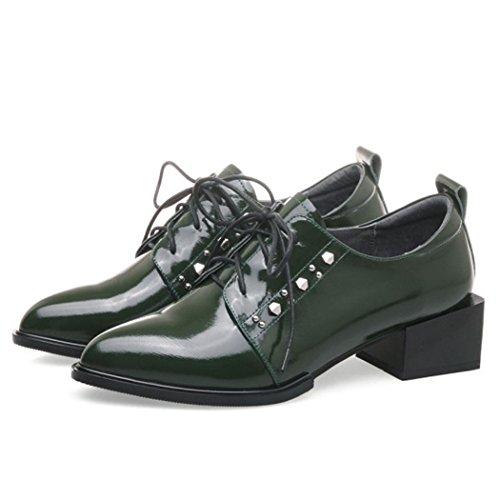 GAOLIXIA Femmes Mesdames Véritable Cuir Chaussures De Travail Pointu Rivets Chaussures à Talons Avec Noir Vert Mode Bottes Cour Escarpins