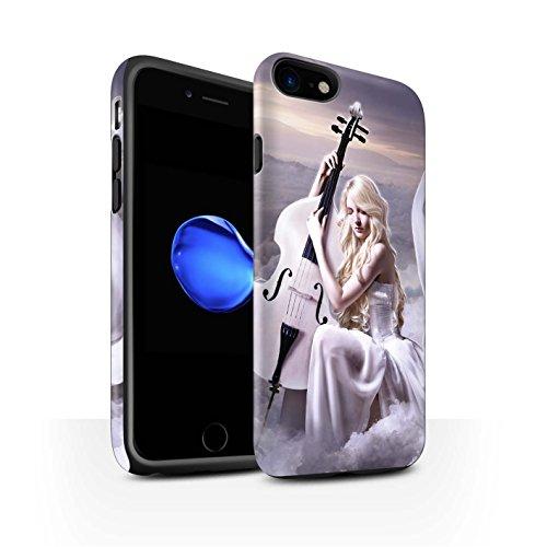 Officiel Elena Dudina Coque / Matte Robuste Antichoc Etui pour Apple iPhone 8 / Abandonné Design / Réconfort Musique Collection Violoncelle/Nuages