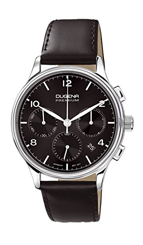 Dugena Herren-Armbanduhr Minor Chronograph - Traditional Classic Analog Quarz Leder 7000243