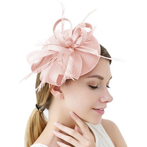 Damen Elegant Fascinator Hut Braut Hair Clip Accessoires Cocktail Royal Ascot (Grau)
