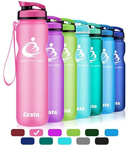 Grsta Bottiglia d'Acqua Sportiva - 32oz-1000ml Borraccia Sportiva, a Prova di perdite, Riutilizzabile Senza BPA tritan plastica Detox Bottiglie Acqua per Palestra, Sport, Yoga, la Corsa (Rosa)