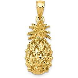 DIAMOND2DEAL INC Colgante de piña de Oro Amarillo de 14 Quilates con Corte en 3 D