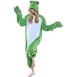 Mystery&Melody Pijamas de Rana de Franela Unisex Disfraces de Cosplay de Animales Trajes de Pijamas de Halloween Carnaval