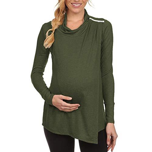 Umstandsmode Damen T-Shirts Still Umstands-Top Herbst Maternity Langarm Oberteile Bluse Tops Kaffee Grün Khaki Weiß.