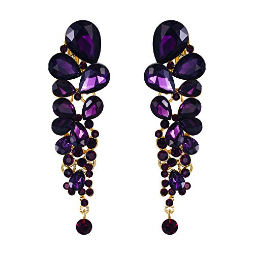 EVER FAITH Damen Ohrringe österreichischen Kristall elegante Wassertropfen Hochzeit Clip-on Ohrhänger Ohr Schmuck baumeln Lila Gold-Ton
