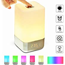 GLIME Wake Up Light Alarm Clock Touch Control Beside Lamp with Sunrise Simulation/3 Brightness Modes/5 Natural Sounds,Dimmable Color Night Light,USB Rechargeable,Best Gifts for Women Kids Children