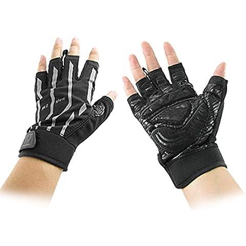 Los guantes de neopreno par negro gris sin dedos deportivas para hombres
