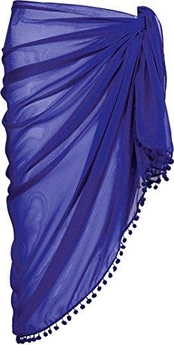 ESMARA® Damen Pareo mit Bommeln (pflaume, ca. B 110 x L 180 cm)