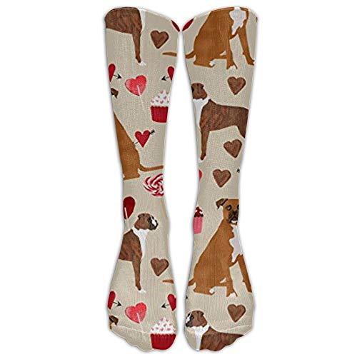 Boxer Dog Valentines Love Cupcakes Knee High Graduated Compression Socks For Women And Men - Best Medical, Nursing, Travel -