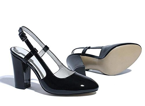 OL Hochzeit Slingbacks Mandel geformte Zehe Chunky High Heel Frauen Büros Freizeitschuhe EU Größe 34-39 Black