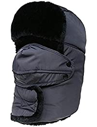 Inverno Bomber Più Spessi Per Cappello Uomo E Fashionable Donna Cappello Di  Pelliccia Sintetica Con Maschera 511fda09b0ae