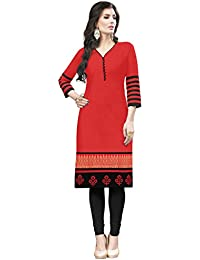 Kanchnar Women's Red Cotton Casual Wear Stitched Kurti For Girls,Ethnic Clothing,Daily Wear Kurti,Gift To Wife...