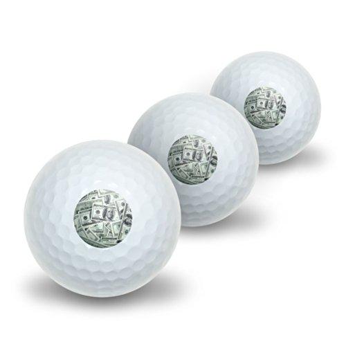 Hundert Dollar Rechnungen Geld Währung Neuheit Golf Balls 3Pack