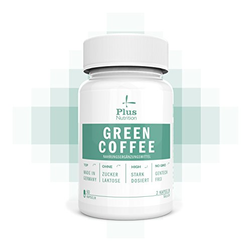 Green Coffee Grüner Kaffee Extrakt - Made in Germany I Gentechnikfrei I Unterstützung bei Sport, Abnehmen und bei Diät I Von Plus Nutrition I Hochdosiert mit 1000 mg I 60 Kapseln I 1 Monatsvorrat