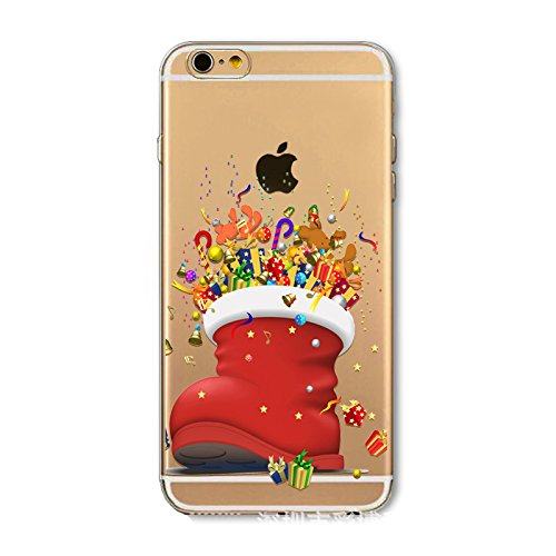 Christmas Hülle iPhone SE 5SE 5 5S LifeePro Weihnachts Cover Ultra dünn Weiches Transparent TPU Gel Silikon Handy Tasche Bumper Case Anti-Scratch Back Cover Full Body Schutzhülle für iPhone SE 5SE 5 5 Christmas Shoe