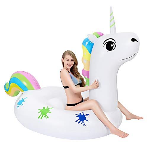 Grefay Unicornio Inflable Gigante,  Piscina Flotador Balsa Cama Flotante de Verano Recreación Acuática Leisure Lounger Beach,  Adultos y Niños 2- 3 Personas (Rosa Blanco)