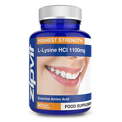 L-Lysine 1100mg, 90 Vegan Tablets. 1 Per Day. 3 Months Supply. Vegetarian Society Approved.