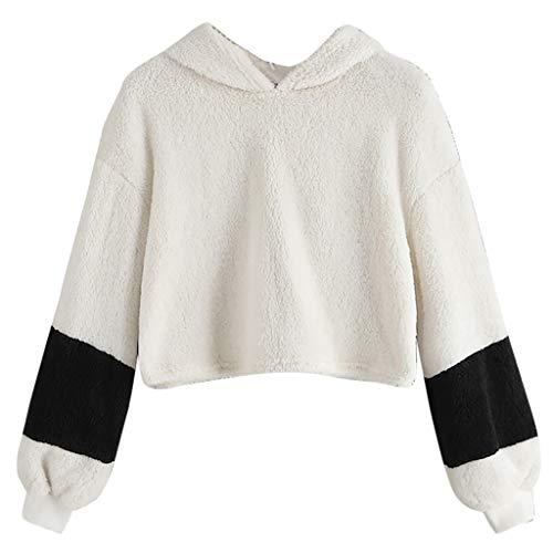 GreatestPAK Kapuzenpullover Damen Pullover Langarm Verziert Oansatz Sweatshirt Tops Bluse Velvet Rundhals Stitching Pulli