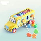 Toddlers Push Pull Along Toy With Xylophone Multifunctional Bus With Shape Sorter Puzzle ,Educational Learning Toys For Kids