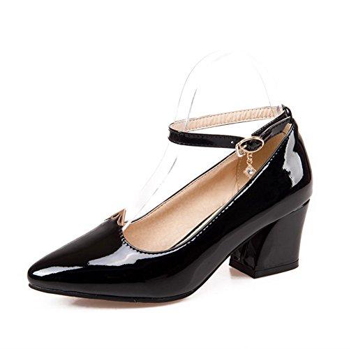 AllhqFashion Femme Pointu à Talon Correct Verni Couleur Unie Boucle Chaussures Légeres Noir