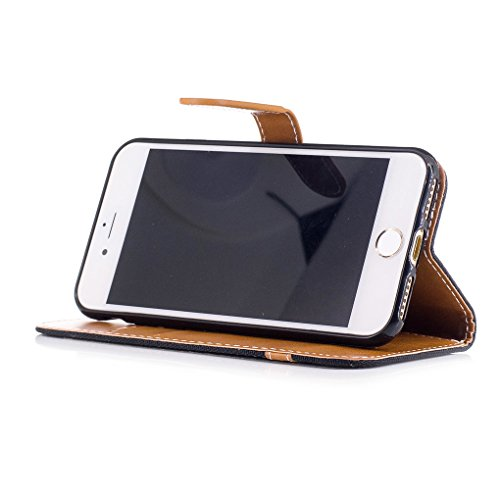 Apple iPhone 7 Hülle, SATURCASE Prämie Jeans Stil PU Lederhülle Ledertasche Magnetverschluss Flip Cover Brieftasche Case Handy Tasche Schutzhülle Handyhülle mit Standfunktion Kartenfächer und Handschl Schwarz