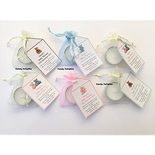 20 Baby Shower DIY Organza Bag, Candle U0026 Personalised Tag Favours FREE Pu0026P