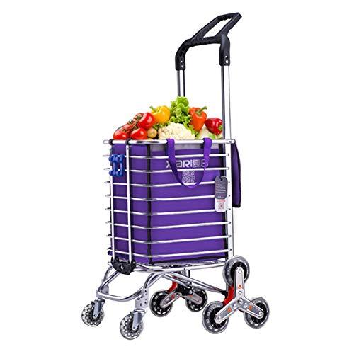 Rolling Wäscherei (QIANGDA-Handwagen Einkaufstrolley Faltbar Einkaufswagen Wäscherei Rolling Utility Cart Grosse Kapazität Treppensteiger, 2 Farben Leinentasche Wahlweise (Farbe : Blau))