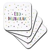 3dRose CST_202078_3 Eid Mubarak Happy Eid Blessing After Ramadan Islamic Muslim Holidays Ceramic Tile Coasters (Set of 4)