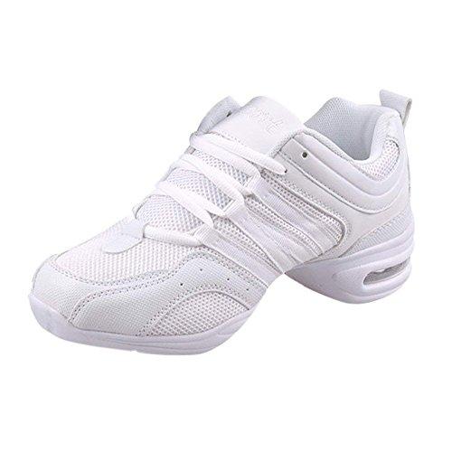 Dance Schuhe Damen Jazz Tanzschuh Weich Leicht Flach Tanzschuhe Gymnastik Sport Fitness Training Tanzsneaker Anzug für Die Ganze Saison (39 EU, Weiß)