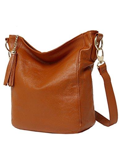 Menschwear Damen Echtes Büffel Leder Schulter Tasche handtasche Cross-Body Tasche Braun Braun