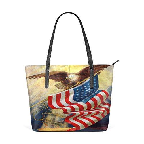 Retro American Flag Eagle PU Leder Schultertasche Handtasche für Frauen Mädchen