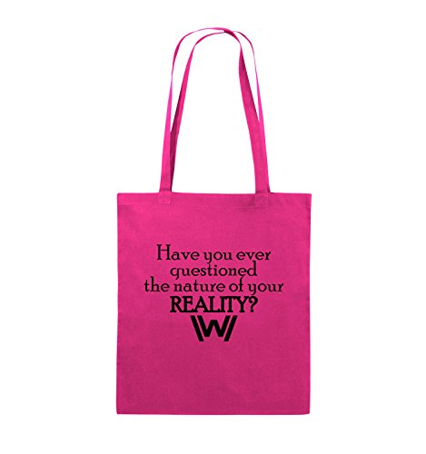 Comedy Bags - Have you ever questioned - WESTWORLD - Jutebeutel - lange Henkel - 38x42cm - Farbe: Schwarz / Pink Pink / Schwarz