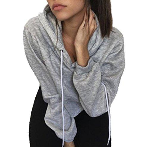Femmes Sweatshirt Chemisiers Sweats de Hoodie Manche Longue Cassé Trou Pull Top Sweat à Capuche Courte Gris