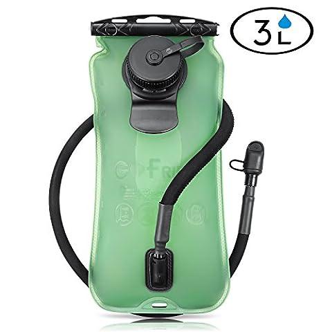 gofriend® 3litres 3L (Genware) extérieur Sac de Système Sac à dos Eau vessie d'hydratation Réservoir d'eau, sans BPA et approuvé par la FDA, idéal pour le vélo, randonnée, Course à pied, le camping, marche,