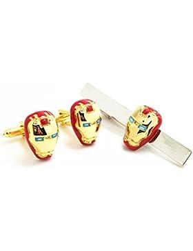 Covink® Manschettenknöpfe und Krawattenklammer Iron Man Rot und Goldfarben Marvel Comics